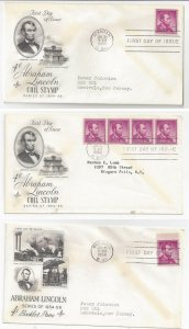 Sc 1056 1058 Lincoln FDC 3 ArtCraft Cachet Covers Coil Strip Booklet 1958