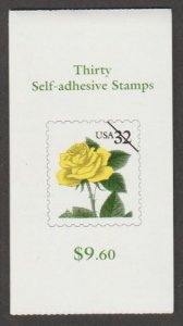 U.S. Scott #3049b-3049d BK242 Yellow Rose Stamp - Mint NH Booklet