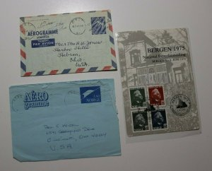 Norway Postal Stationary Lot 3 Oslo 1957 aerogramme letter sheet