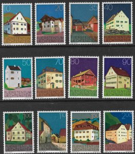 LIECHTENSTEIN 1978 BUILDINGS Set of 12 Sc 638-649 MNH