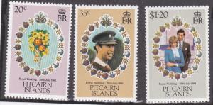 Pitcairn Isl # 206-208, Royal Wedding, NH, Half Cat.