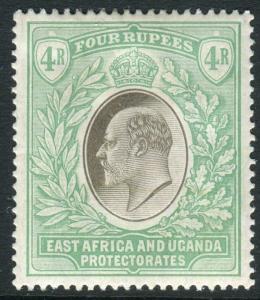 EAST AFRICA & UGANDA-1907 4r Grey & Emerald Green lightly mounted mint Sg 29