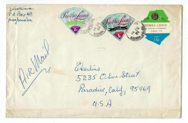 1971 Sierra Leone To USA Airmail Cover - See Reverse (RR76)
