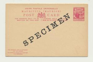 MAURITIUS 1890's, 8c SPECIMEN REPLY PAID CARD, VF UNUSED H&G#12(SEE BELOW