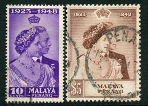 PENANG-1948 Royal Silver Wedding Sg 1-2 GOOD USED V19871