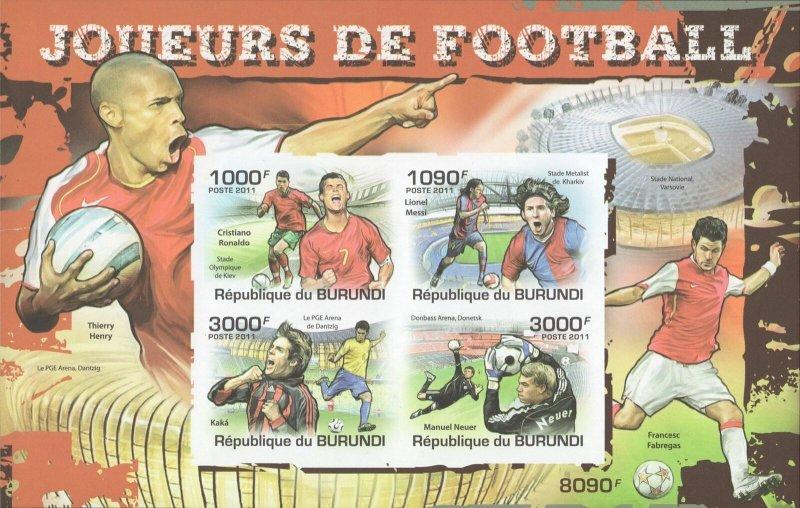 Burundi MNH S/S Soccer Players 2011 4 Stamps