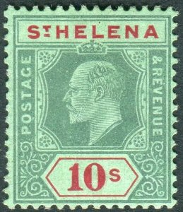 ST HELENA-1908-11 10/- Green & Red/Green.  A lightly mounted mint example Sg 70