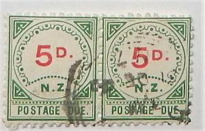 New Zealand J6. 1899 5p Postage Due, used pair
