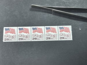 U.S.# 2523-MINT/NH--PLATE # COIL STRIP OF 5-(P#7)-FLAG & MT RUSHMORE--1991