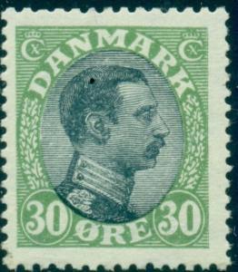 DENMARK #111 (145) 30ore Chr. X, og, NH, VF, Scott  $115.00