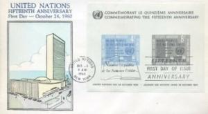 UN #85 15th ANNIV SOUVENIR SHEET - Overseas Mailer