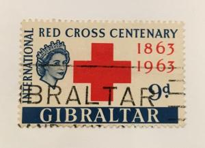 Scott 163 Gibraltar-Red Cross Centenary Used