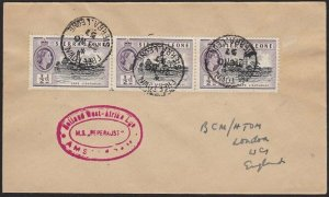 SIERRA LEONE 1957 Ship cover - MS Peperkust - Freetown cds..................H335