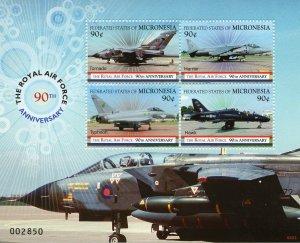 Micronesia 2008 MNH RAF Royal Air Force 90th Anniv 4v M/S Aviation Stamps
