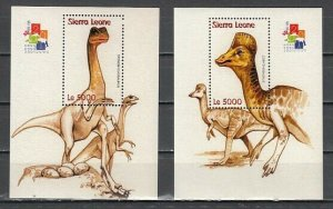 Sierra Leone, Scott cat. 2484-2485. Dinosaurs, Hong Kong Expo, 2 s/sheets. ^