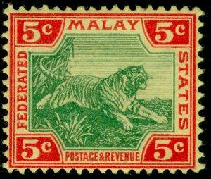 MALAYSIA - Federated Malay SG39, 5c grn&carmine/yellow, LH MINT. Cat £12.MULT CA
