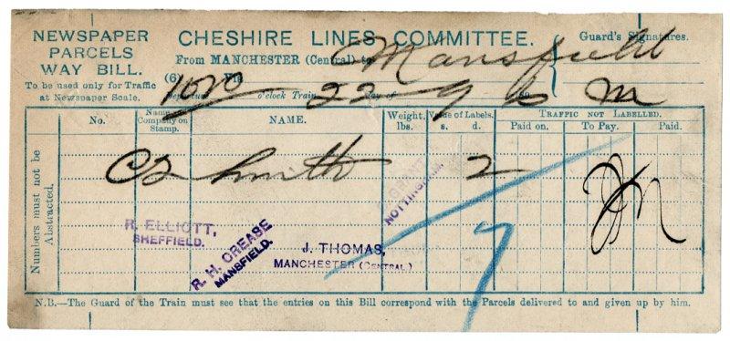 (I.B) Cheshire Lines Committee Railway : Newspaper Way-Bill (Mansfield 1896)