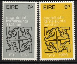 IRELAND SG269/70 1969 50th ANNIV OF I.L.O. MNH