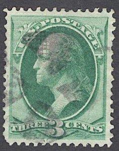 US Stamp I GRILL #136a 3c Green Washington USED SCV $100. Fantastic Centering.