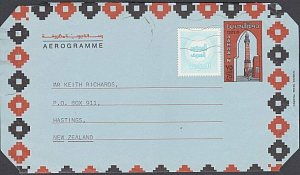 BAHRAIN 1987 75f aerogramme + tax stamp commercially used to New Zealand....J986