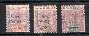 Leeward Islands 1902 Surcharged set mint SG17-19 WS14385
