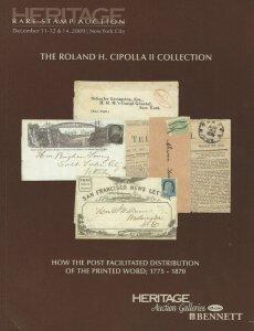 Roland H. Cipolla, U.S. Postal History, Heritage, Sale 1111, Dec. 11-14, 2009