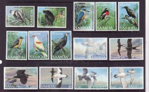 Samoa-Sc#725-40 ex #'s 725,731-Unused NH set-Birds-1988-89
