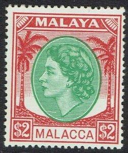 MALACCA 1954 QEII PALM TREES $2 MNH **