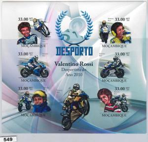 549 - MOZAMBIQUE -  STAMPS - 2010   IMPERF SHEET: Valentino Rossi, Motorbikes