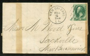 US Scott 158 on 1876 Cover from New Orleans to Sackville, New Brunswick, Canada