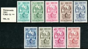 1951 Venezuela Arms of Caracas & Buildings airmail set MNH Sc# C365 / C373