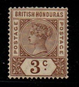 British Honduras Sc 40 1891 3c brown Victoria stamp mint