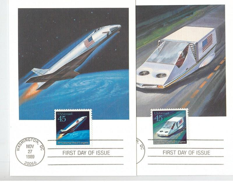 59147 -  USA -  set of 9  MAXIMUM CARD 1989: LINCOLN DAY airplanes SPACE boats