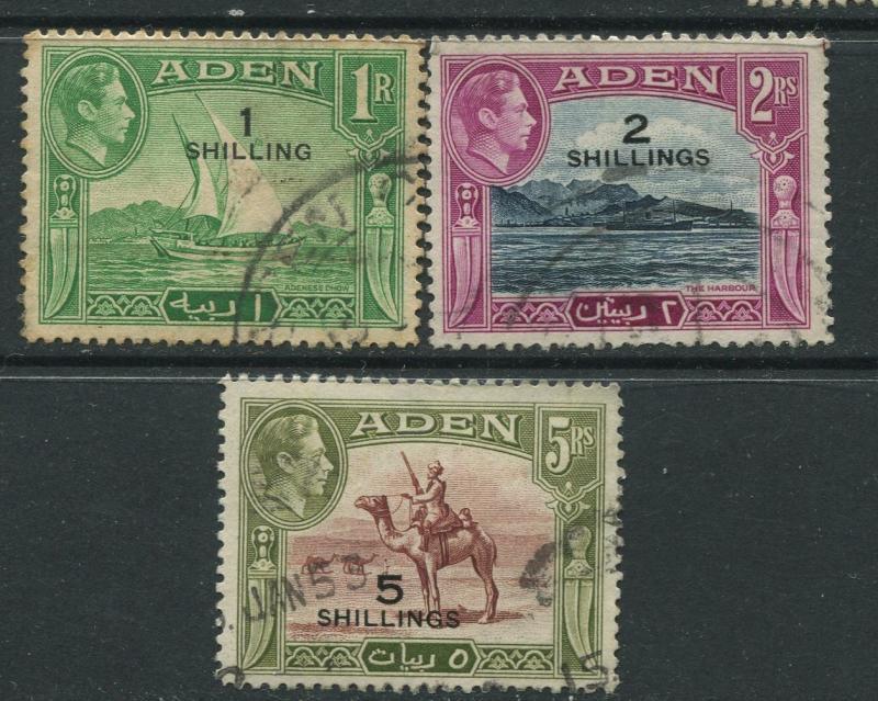 STAMP STATION PERTH Aden #43-45 - KGVI Definitive Overprint 1951 Used CV$17.00.