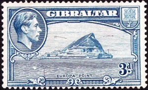 GIBRALTAR 1942 KGVI 3d Light Blue SG125b FU