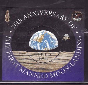 St. Kitts-Sc#464- id7-unsed NH sheet-Space-Moon Landing-1999-