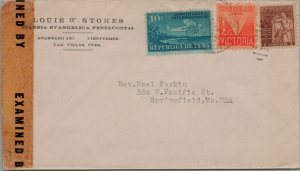 CUBA POSTAL HISTORY WWII CENSORED COVER ADDR USA CANCEL YRS'40
