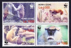 Sierra Leone MNH Block 2752a-d Patas Monkeys WWF 2004