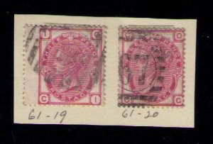 Great Britain Sc #61 Plates 19 and 20 F-VF Used CV $145.00