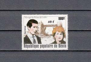 Benin, Scott cat. C305. Diana`s Royal Wedding, SURCHARGED issue.