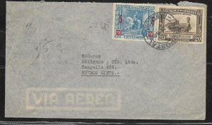 AAMER-54 PARAGUAY 1945 OLD COVER TO ARGENTINA 20 GsX1TRAIN+5/7GSX1 SOLANO LOPEZ