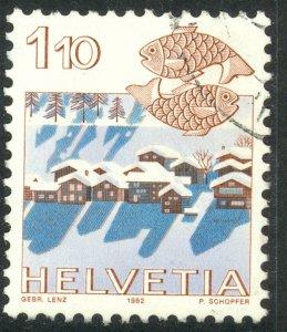 SWITZERLAND 1982-86 1.10fr ZODIAC SIGN AND CITY VIEWS Issue Sc 718 VFU