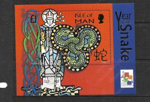 ISLE OF MAN, 888, MNH, SS,YEAR OF THE SNAKE