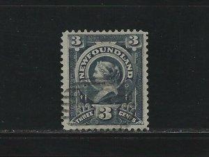 NEWFOUNDLAND - #60 - 3c QUEEN VICTORIA USED STAMP