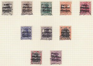 POLAND 1918 PULTUSK overprints on German Occupation issue - 10 used..... ...A585
