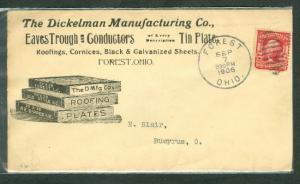 1906 Dickelman Mfg Co. Eaves Trough & Conductors advertising Forest, OH