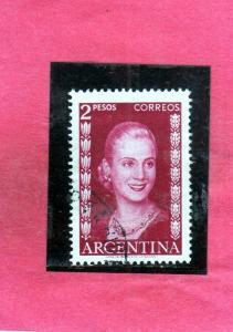 ARGENTINA 1952 1953 EVA PERON PESOS 2p USATO USED OBLITERE'S