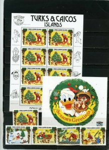 TURKS & CAICOS ISLANDS 1984 DISNEY CHRISTMAS SET OF 5 STAMPS,SHEET & S/S MNH