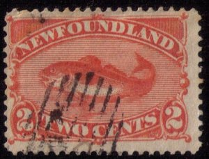 Newfoundland Sc 48 Deep Red Org Used F-VF
