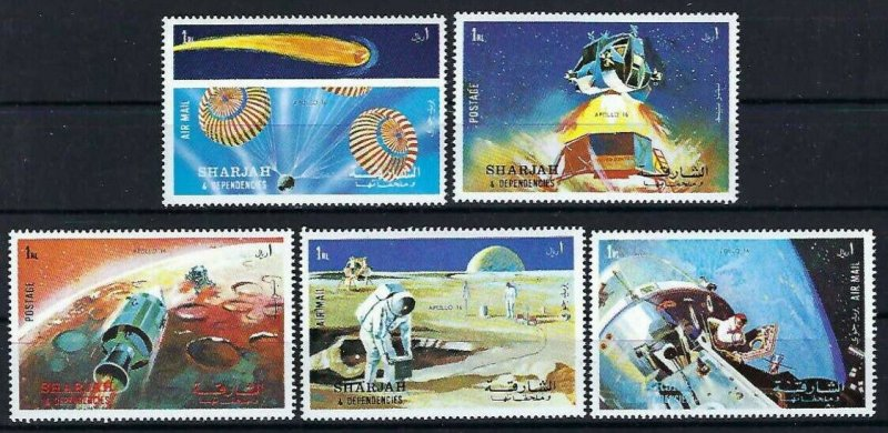 Sharjah MNH 982-6 Space Apollo 16  Space 1972